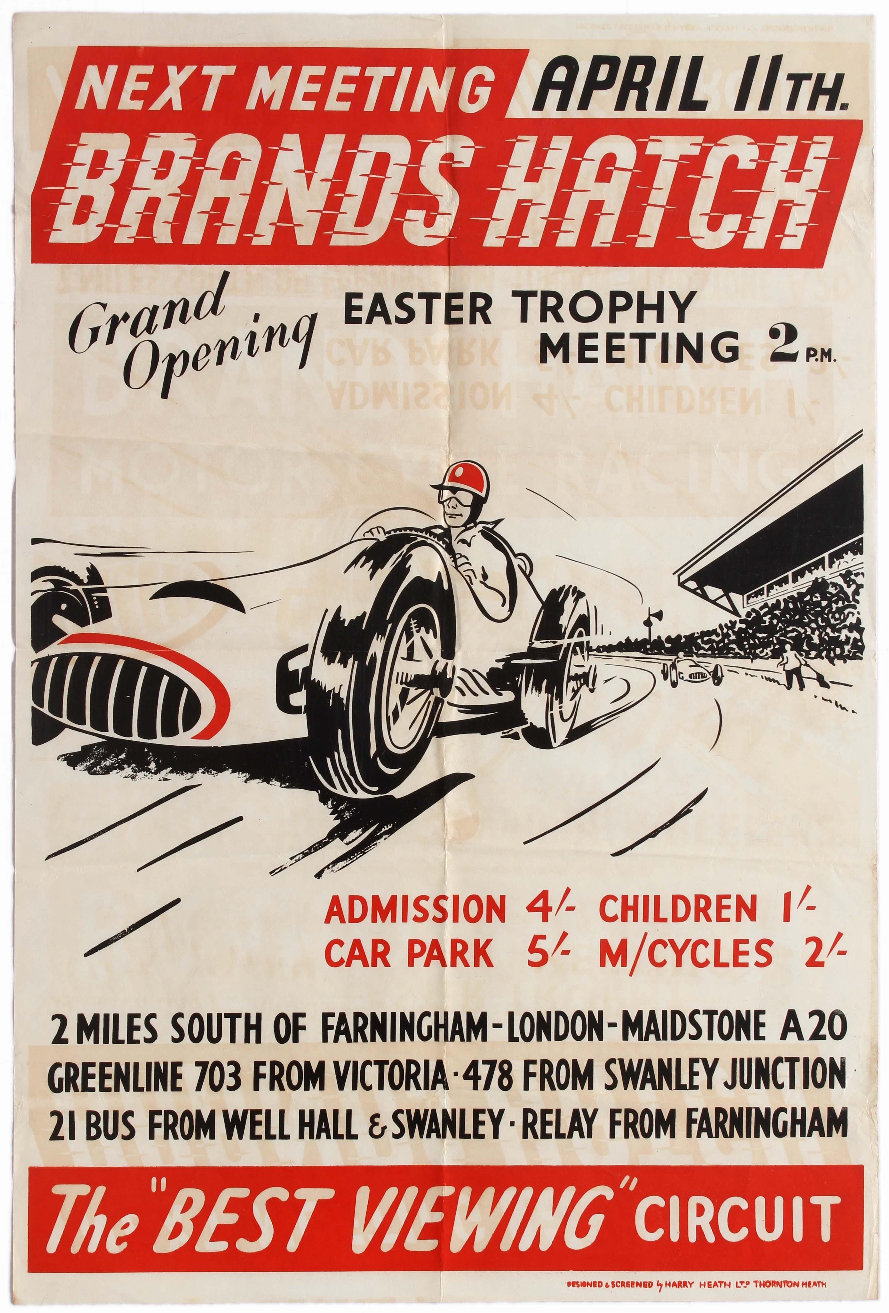 Sport Poster Brands Hatch 500cc Car Racing Easter Trophy Cooper