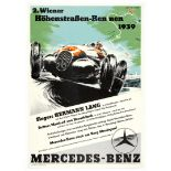 Car Racing Poster Vienna Street Race 1939 Mercedes Benz