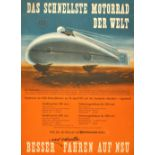 Sport Poster NSU Motorcycle Speed Record 1951 Delphin I