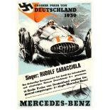 Car Racing Poster Grand Prix Germany 1939 Mercedes Benz