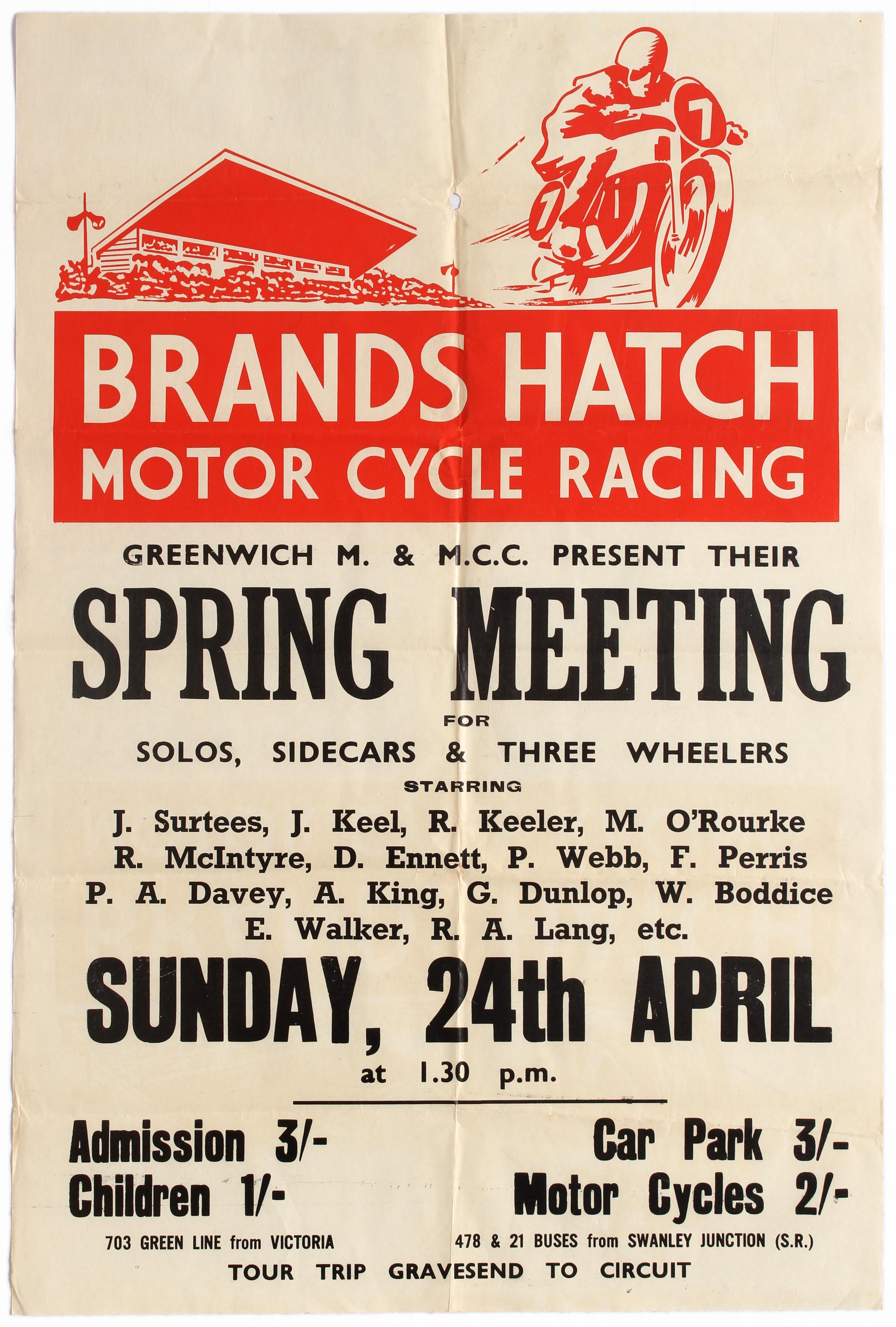 Sport Poster Brands Hatch Motorcycle Racing Greenwich Motorcycle Club