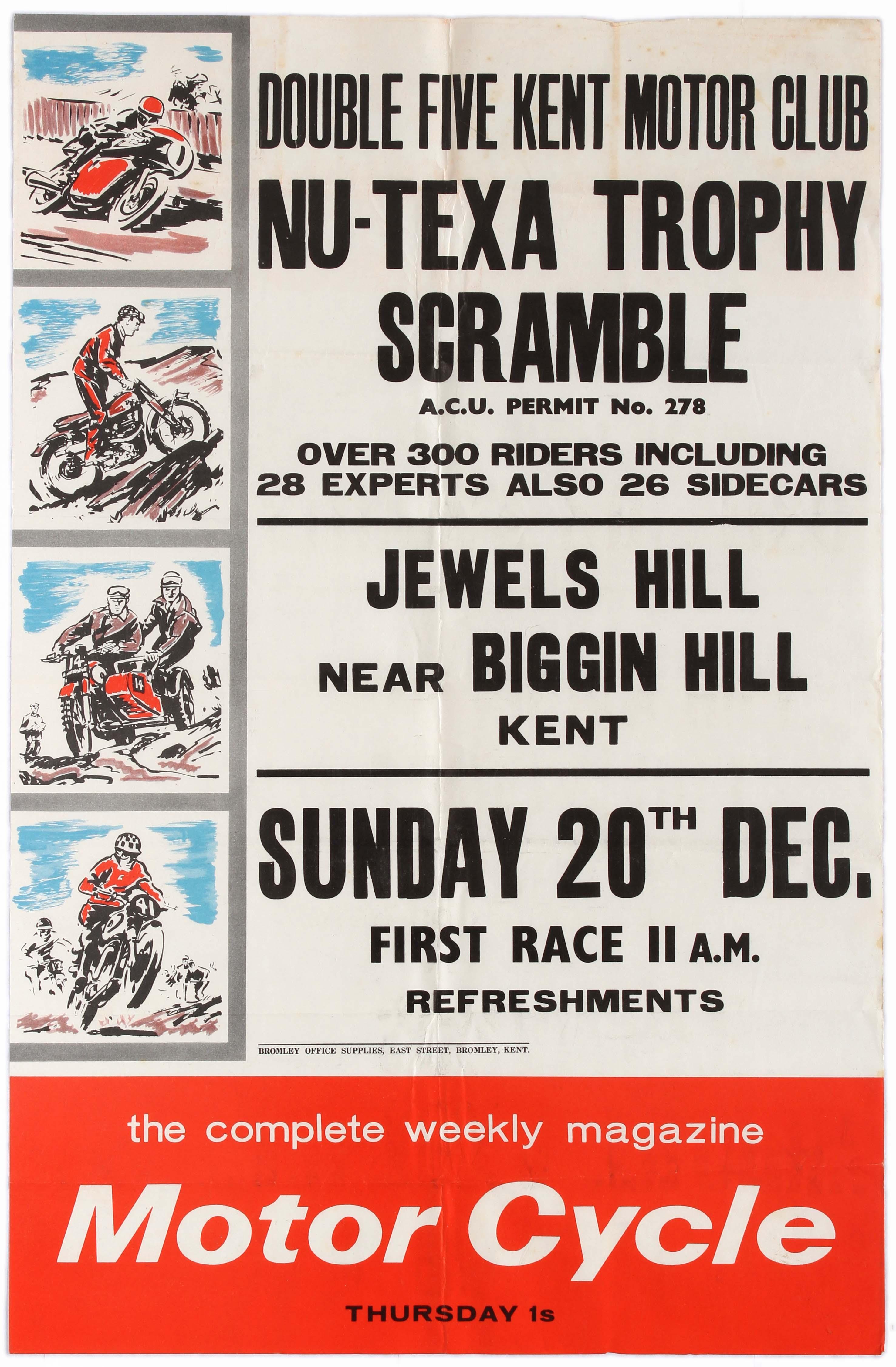 Sport Poster Nu-Texa Trophy Scramble Motorcycle Racing