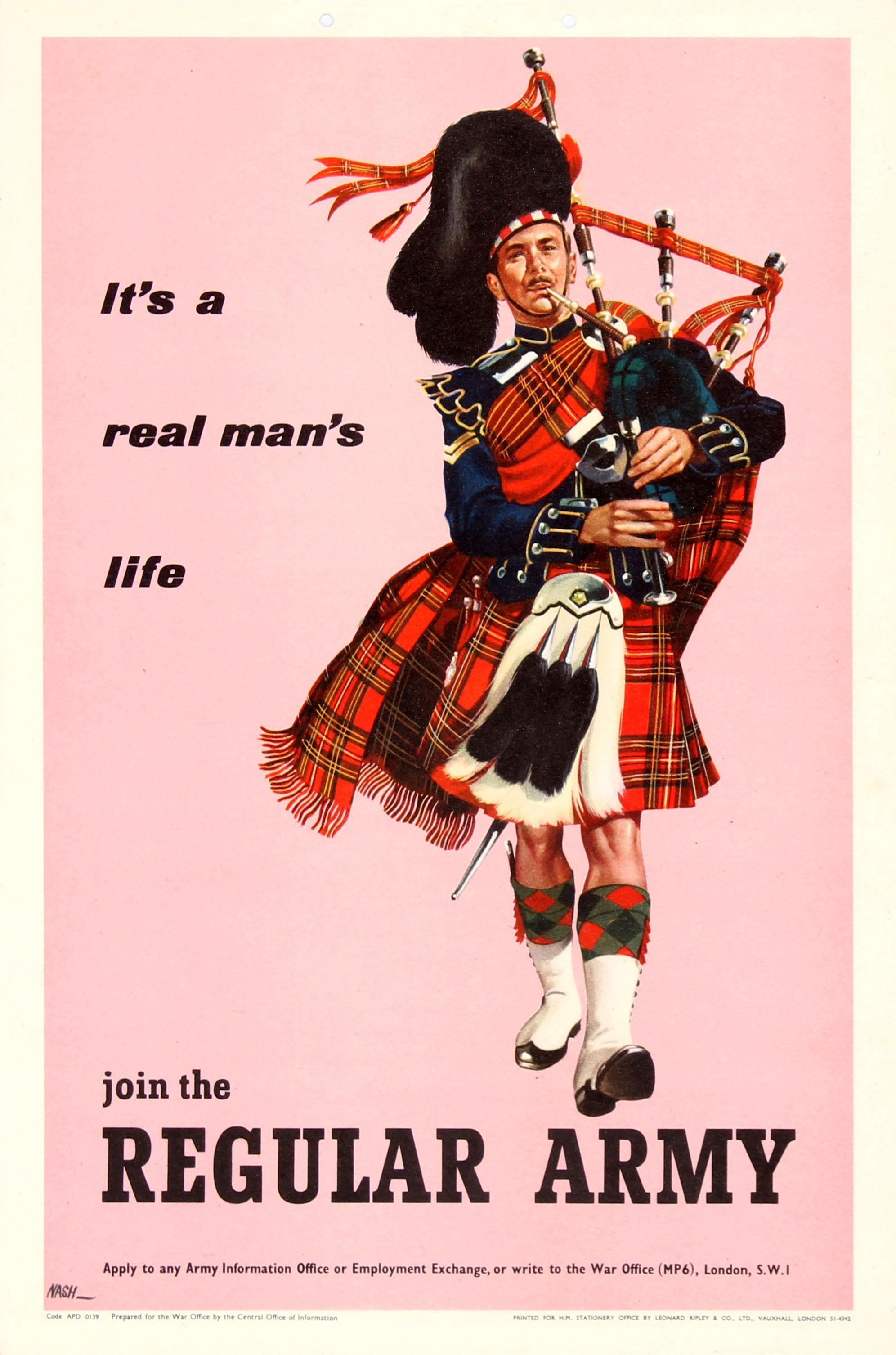 Lot 46 - Propaganda Poster Regular Army Recruitment Scots Guards Bag Piper