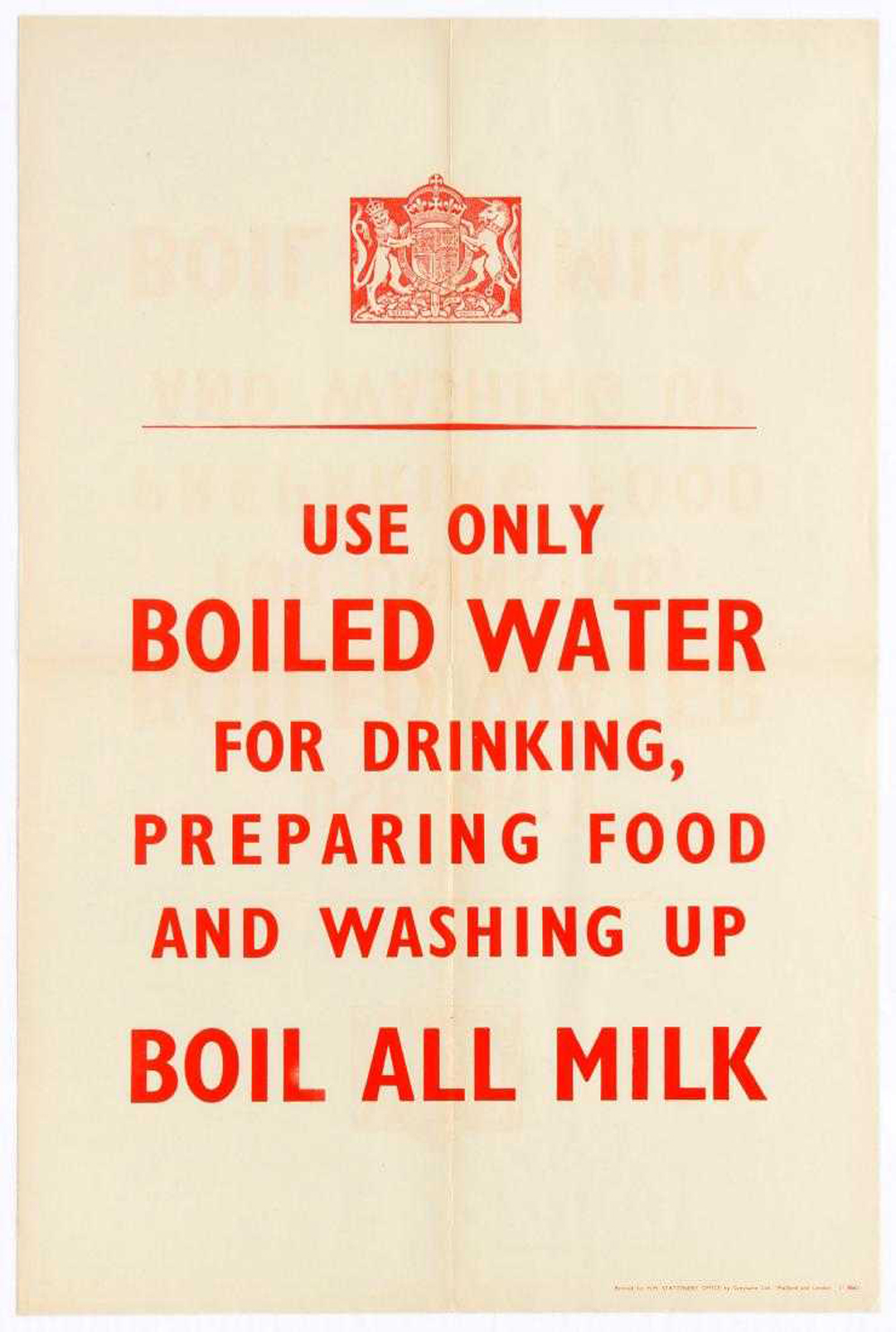 Lot 29 - War Poster Use Only Boiled Water WWII UK Home Front