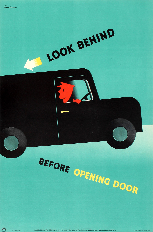 Lot 49 - Propaganda Poster Road Safety ROSPA Look Behind Cusden Midcentury Modern