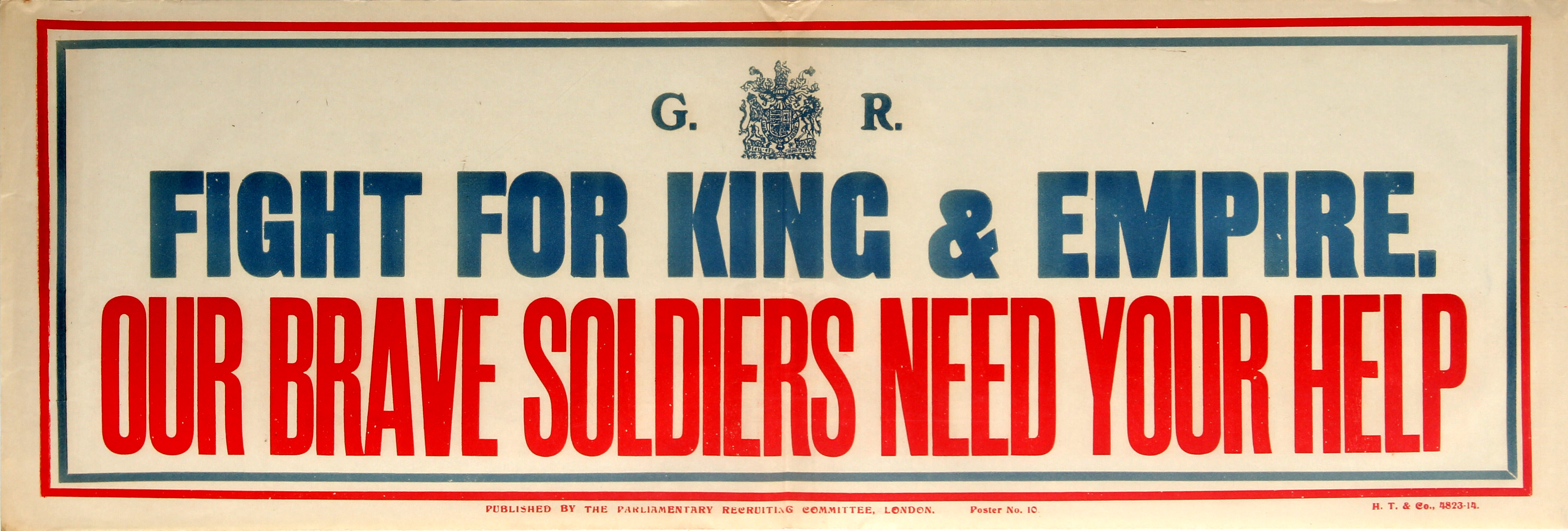 Lot 8 - War Poster Fight For King And Empire WWI UK