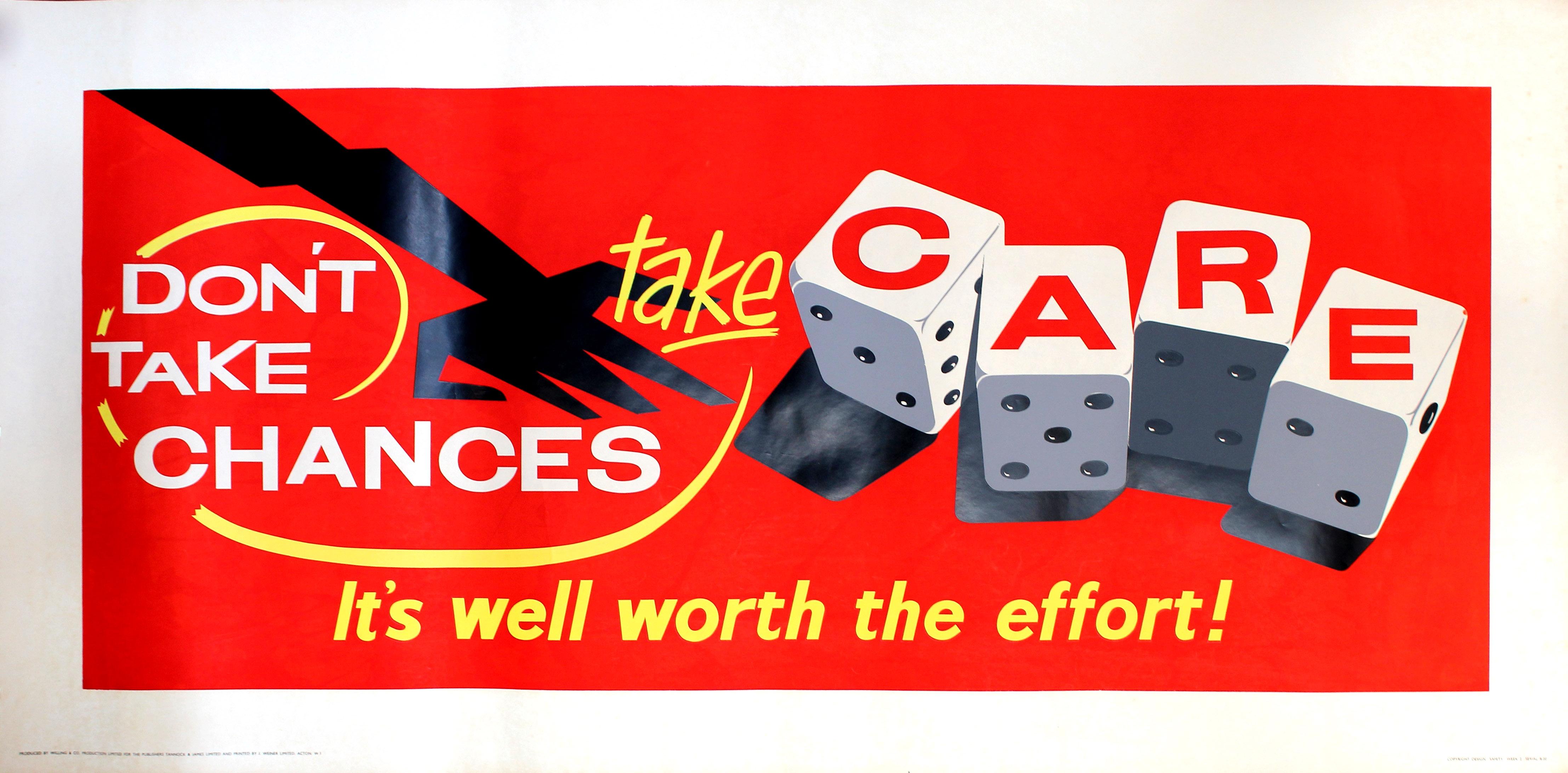 Lot 55 - Propaganda Poster Workplace Motivation Gambling Dice Chances