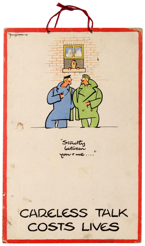 Lot 14 - War Poster Careless Talk Costs Lives WWII Fougasse Hitler UK