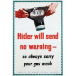War Poster Hitler Will Send No Warning WWII Gas Mask