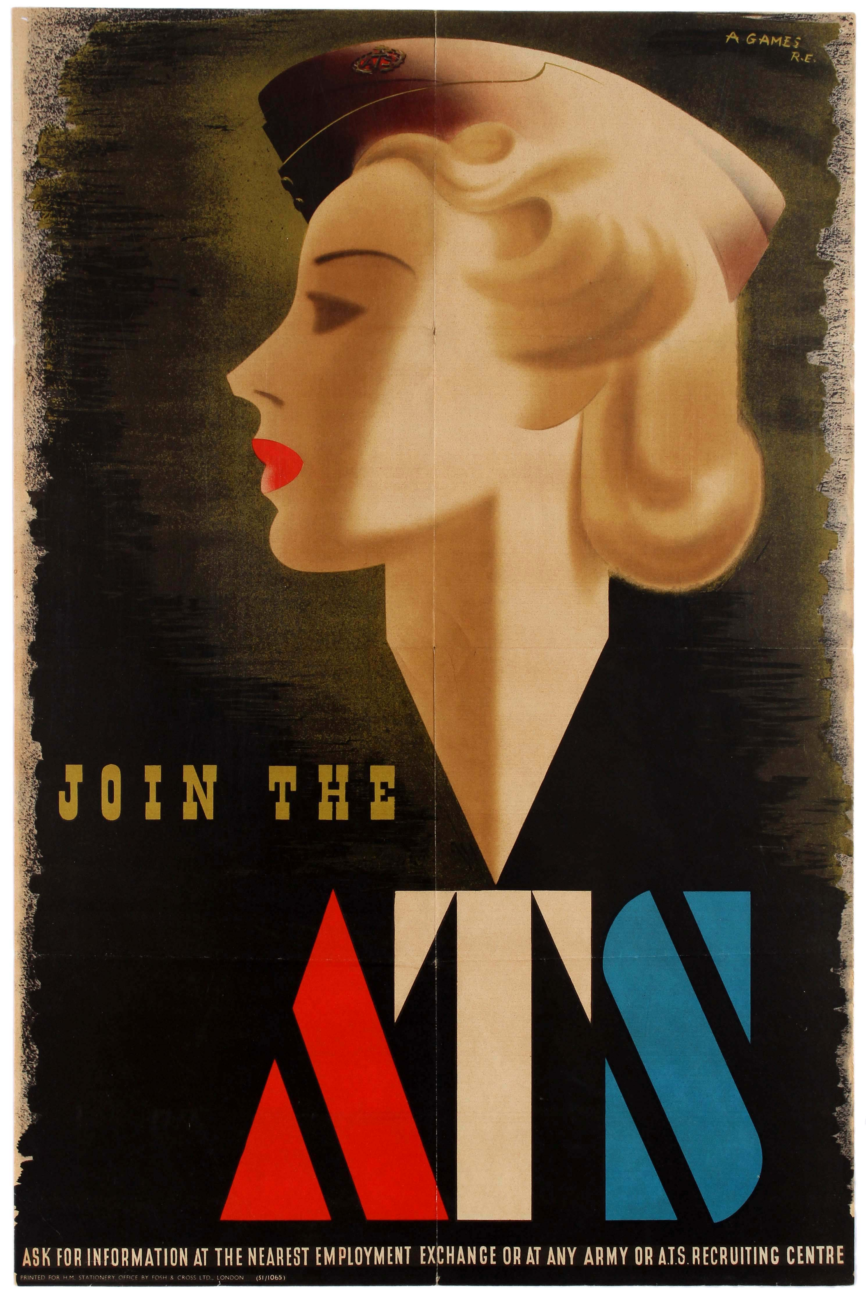 Lot 11 - War Poster WWII Join the ATS Abram Games Blonde Bombshell