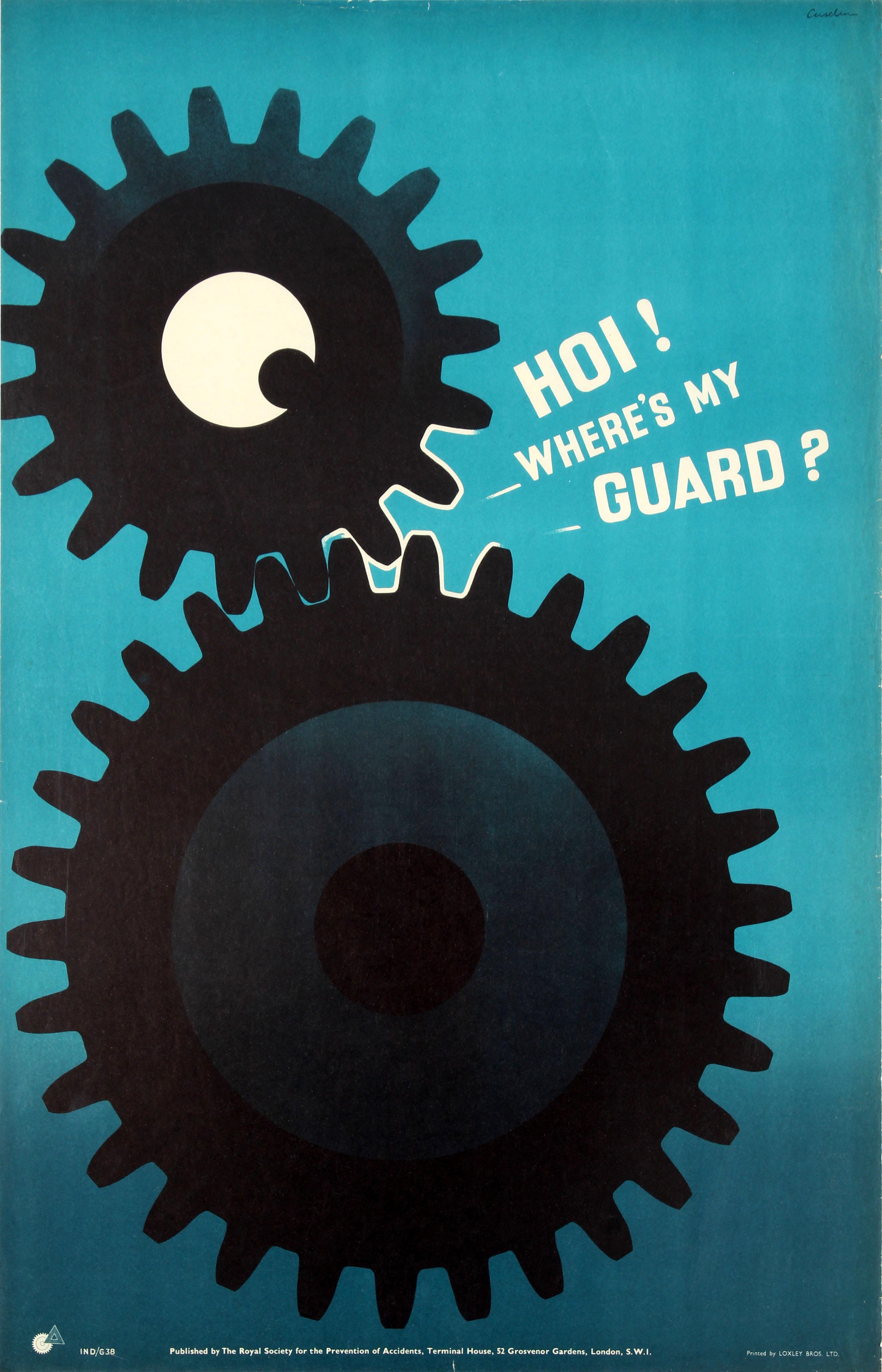 Lot 44 - Propaganda Poster Gear Guard ROSPA Midcentury Modern