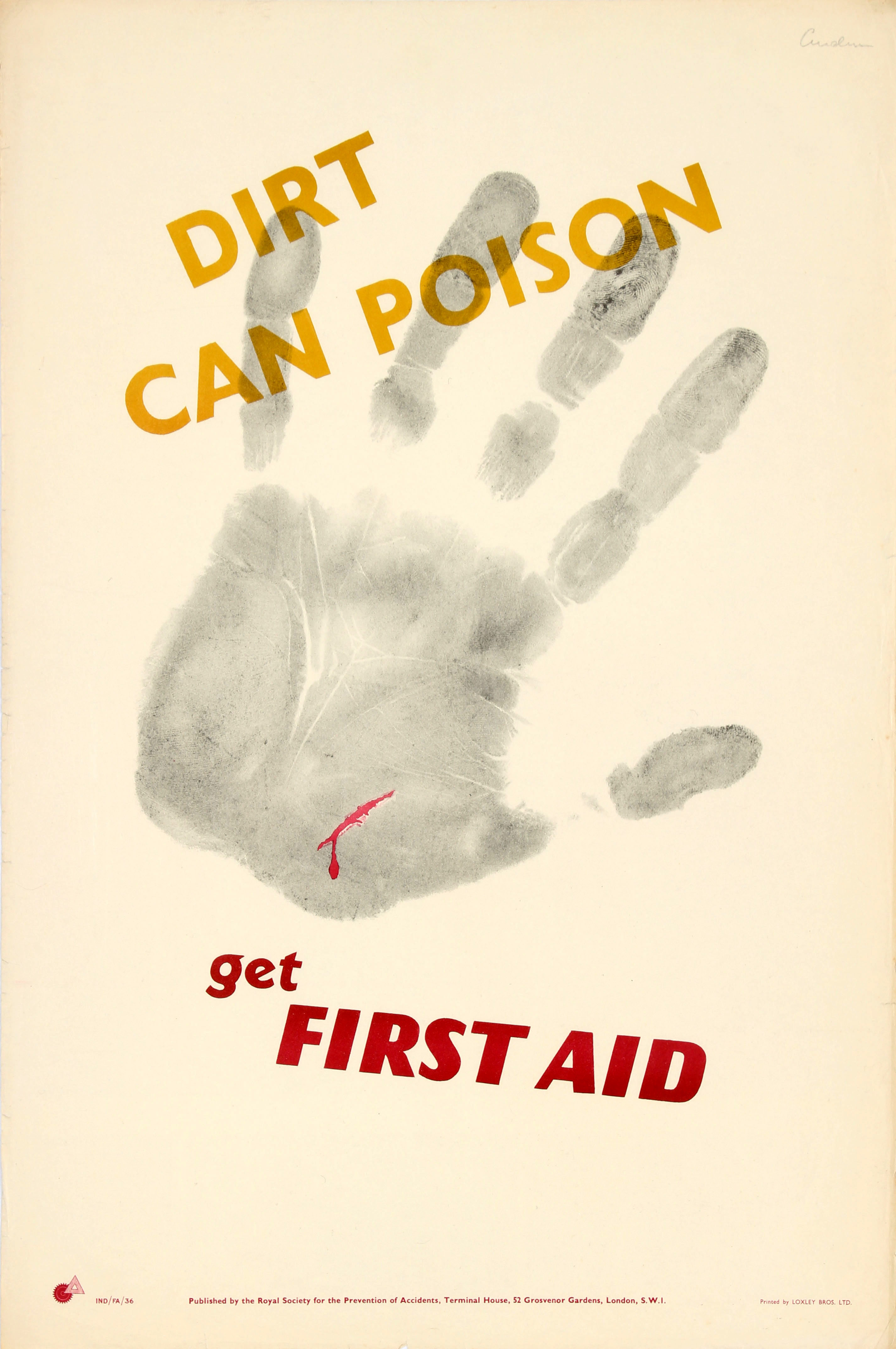 Lot 43 - Propaganda Poster Dirt Poison First Aid ROSPA Midcentury Modern
