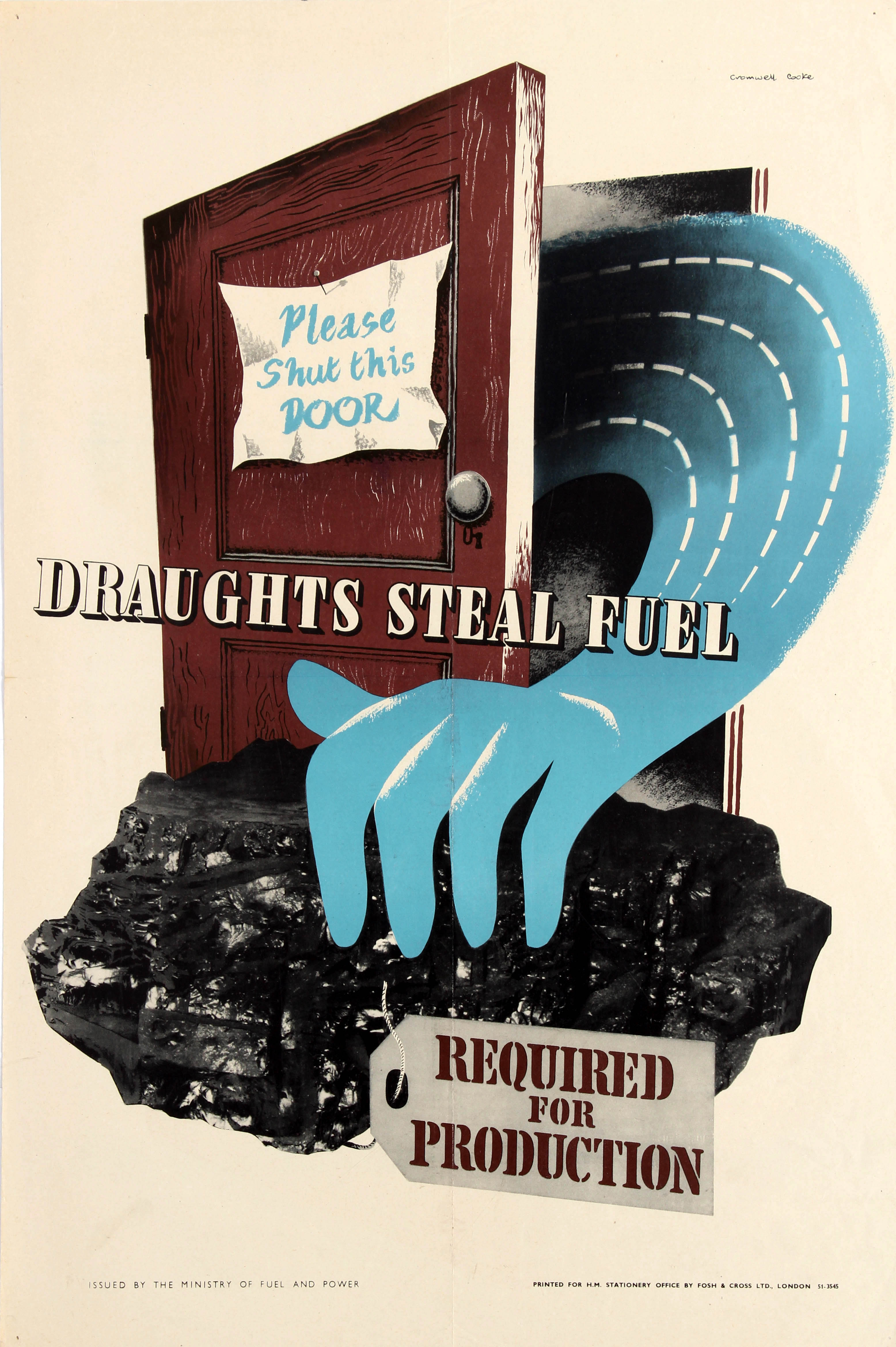 Lot 31 - War Poster Draughts Steal Fuel WWII Home Front UK