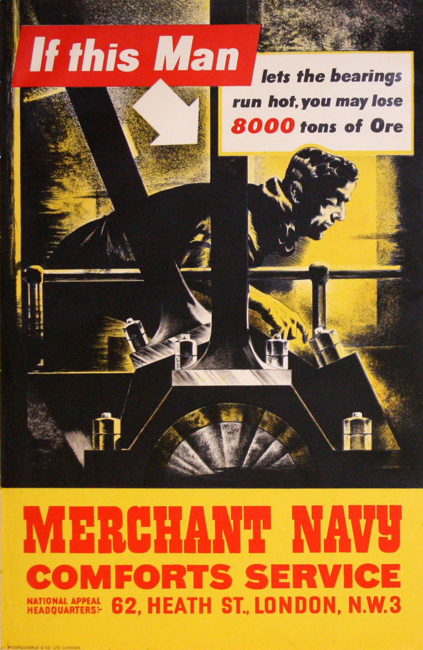 Lot 26 - War Poster Merchant Navy WWII UK Modernism Engine Room