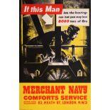 War Poster Merchant Navy WWII UK Modernism Engine Room