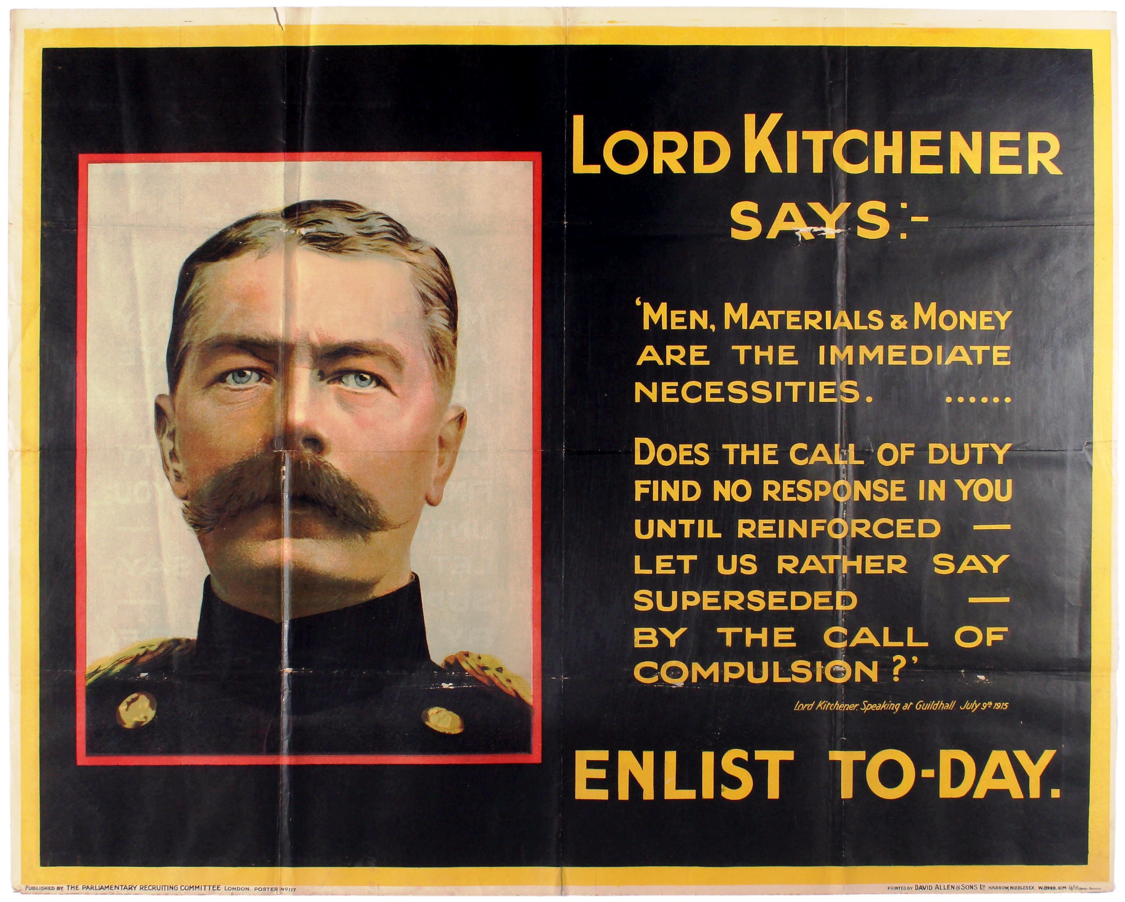 Lot 2 - War Poster Lord Kitchener Says WWI UK Recruitment