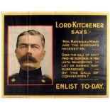 War Poster Lord Kitchener Says WWI UK Recruitment