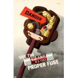 Propaganda Poster Danger Electrician Fuse ROSPA Safety Plug