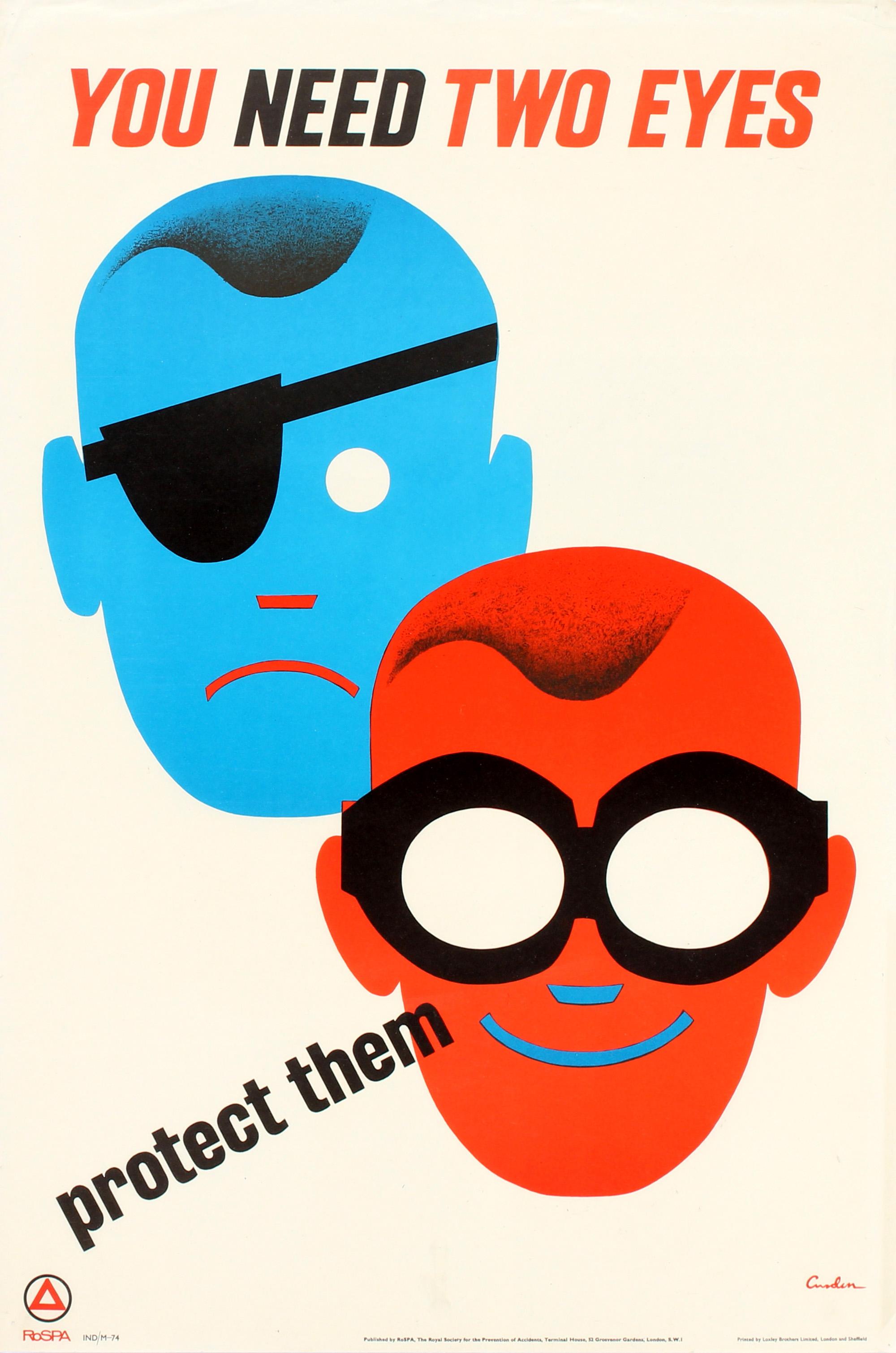 Lot 59 - Propaganda Poster You Need Two Eyes Eye Safety Goggles ROSPA