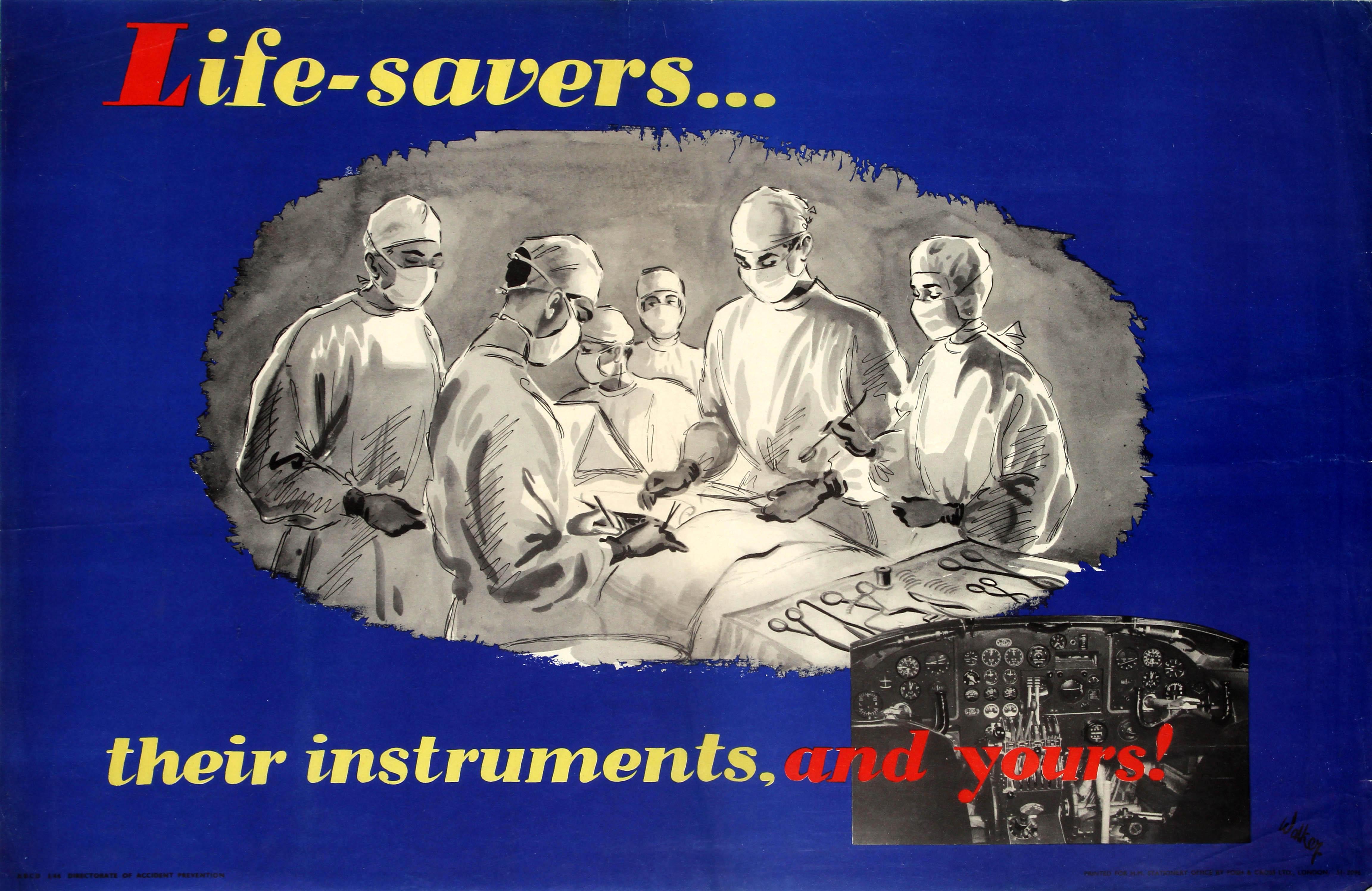 Lot 35 - Propaganda Poster Air Force Pilot Safety Life Savers Doctor Surgeon