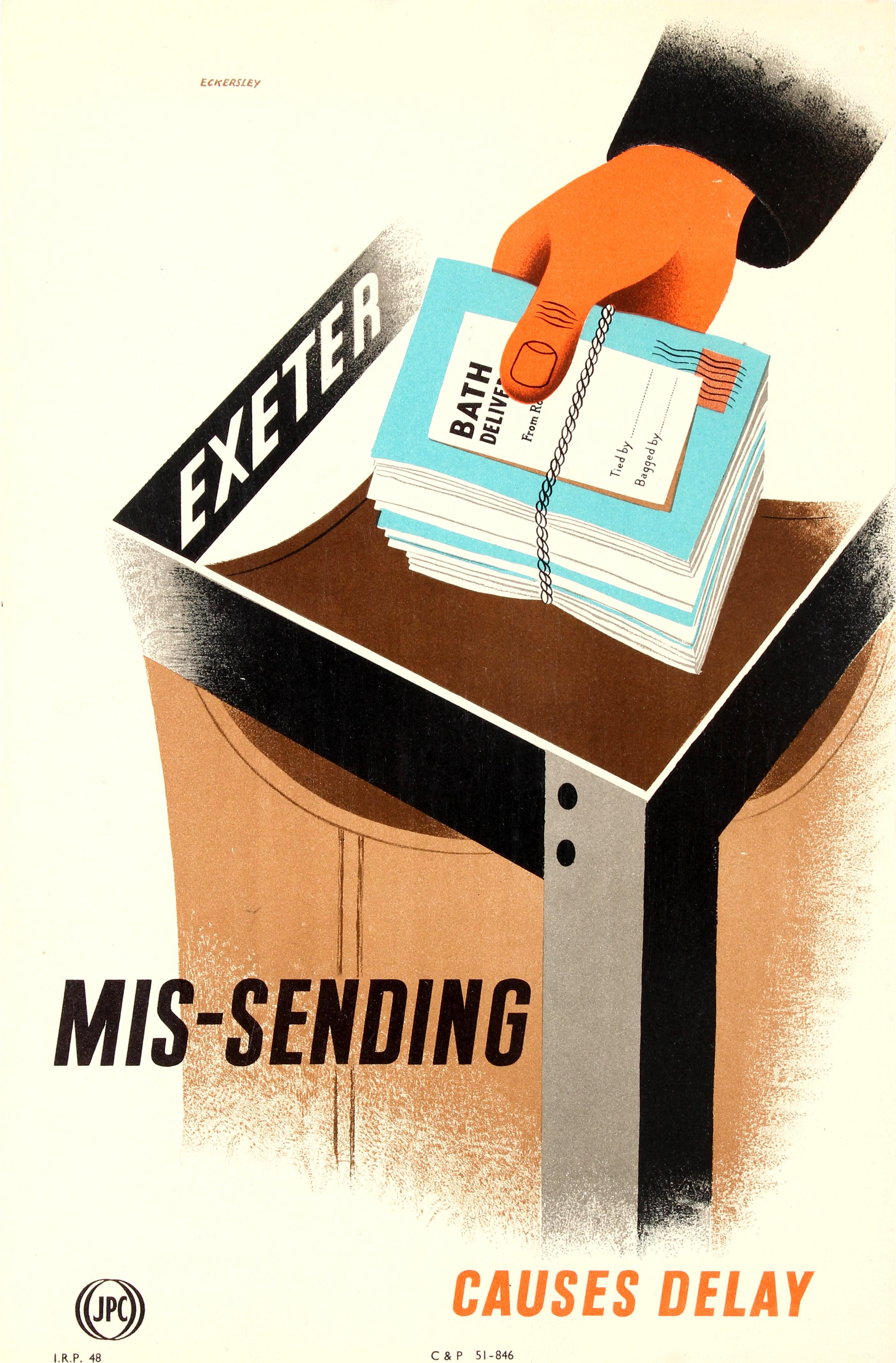 Lot 61 - Propaganda Poster Missending Delay GPO Midcentury Tom Eckersley