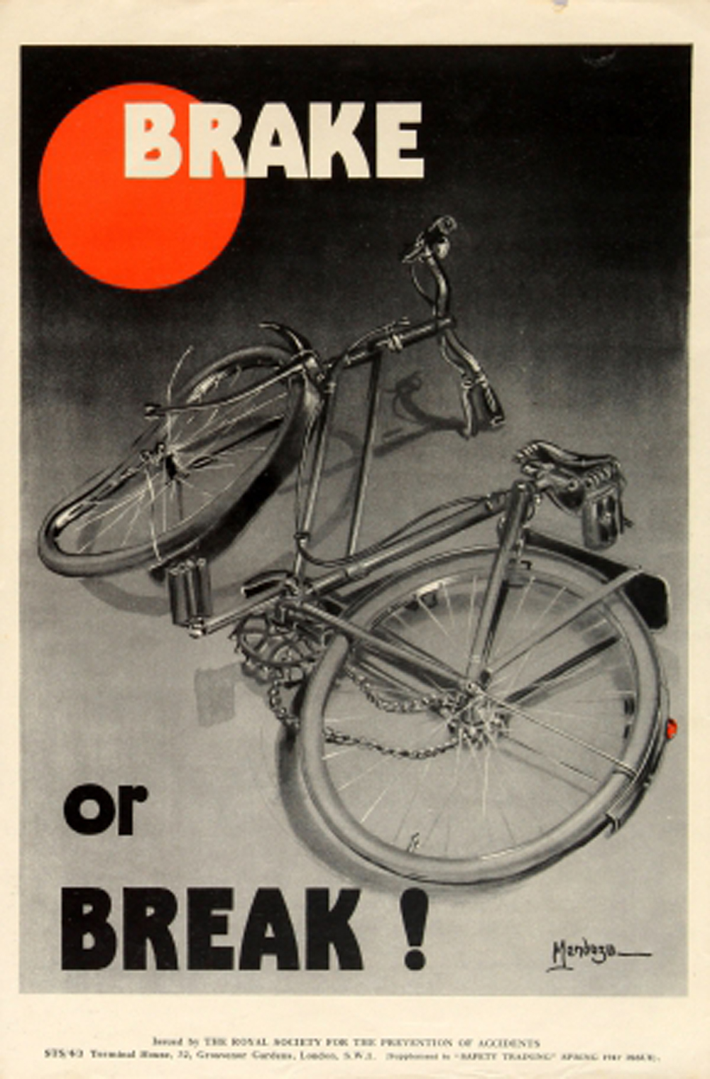 Lot 36 - Propaganda Poster Road Safety ROSPA Brake Or Break Bicycle Midecntury