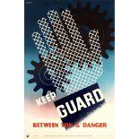 Propaganda Poster Keep Guard ROSPA Work Safety Midcentury Modern