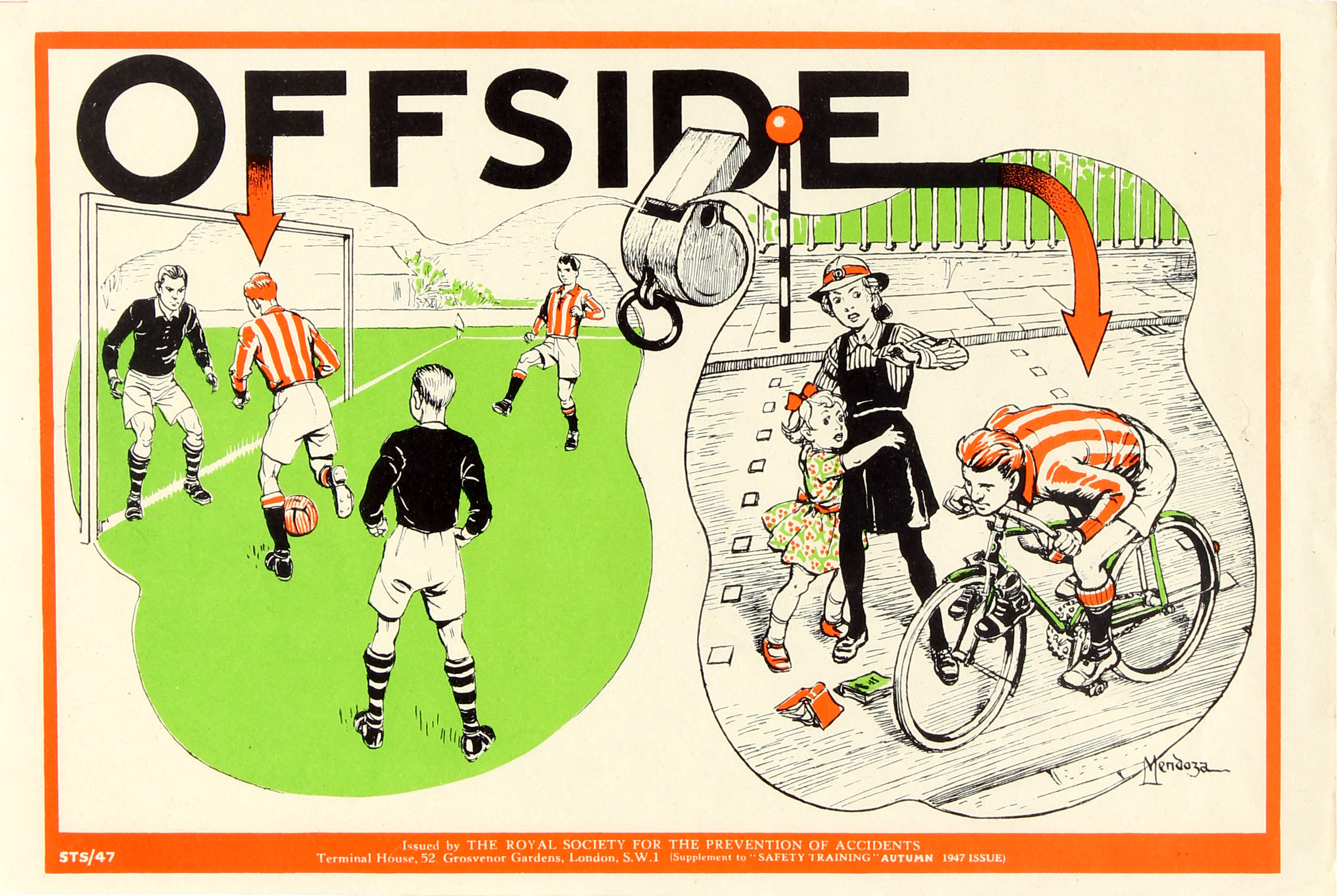 Lot 37 - Propaganda Poster Road Safety ROSPA Football Offside Cycling Bicycle