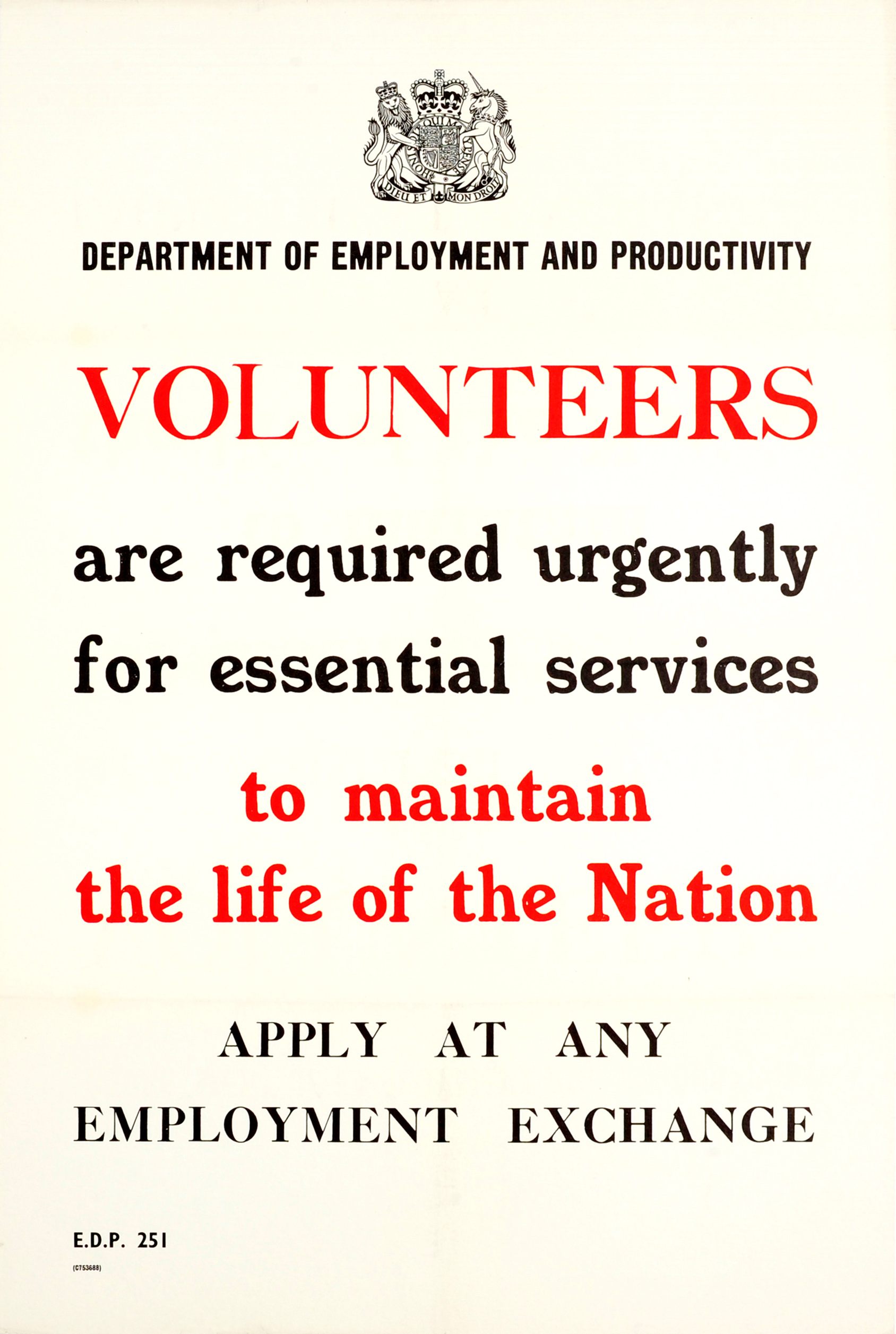 Lot 20 - War Poster Volunteers Required Urgently WWII UK