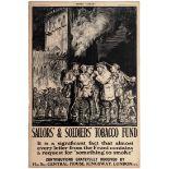 War Poster WWI Sailors Soldiers Tobacco Fund Brangwyn Smoking