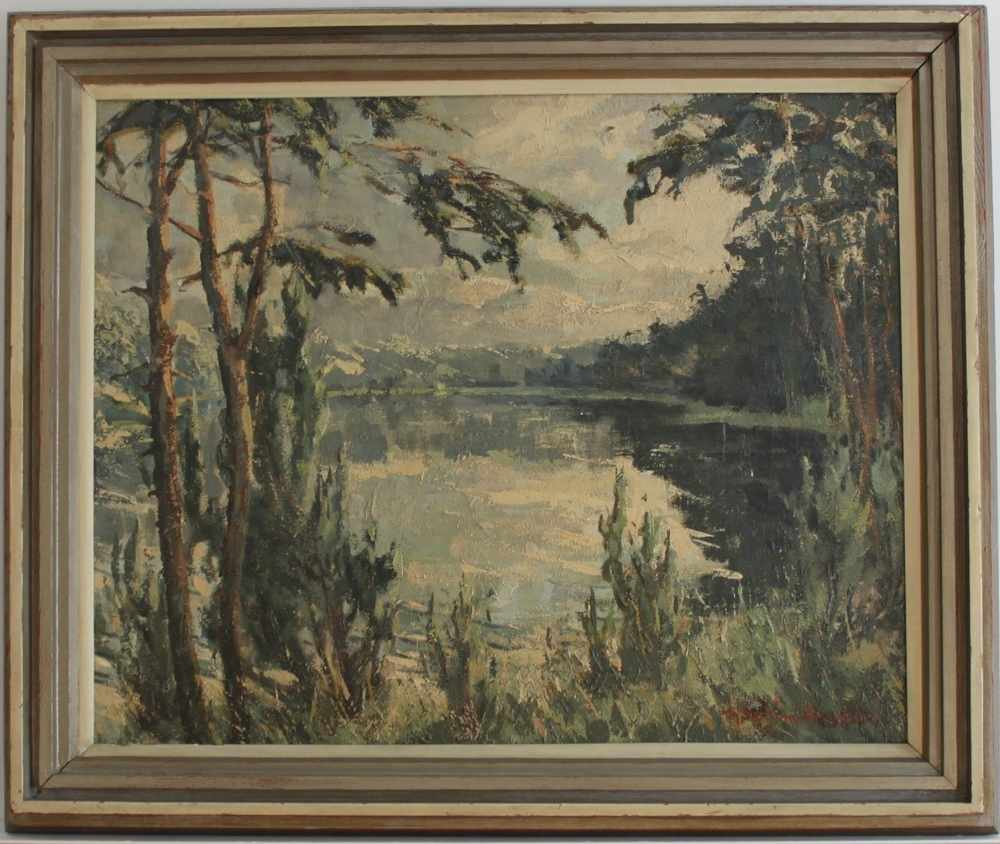 Lot 58 - Götzing - Draheim, F.(Landschaft an einen See). Ölgemälde auf Hartfaserplatte. Unten rechts signiert