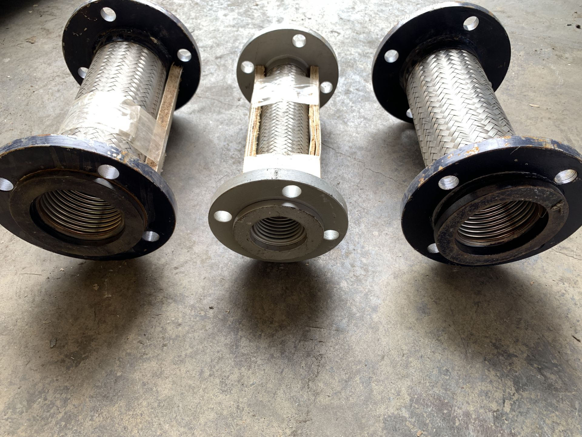 """Lot 202 - 3 Stainless Sttel Flange Flexible Connectors, 12"""", Heavy Duty Industrial, Located in Los Angeles"""