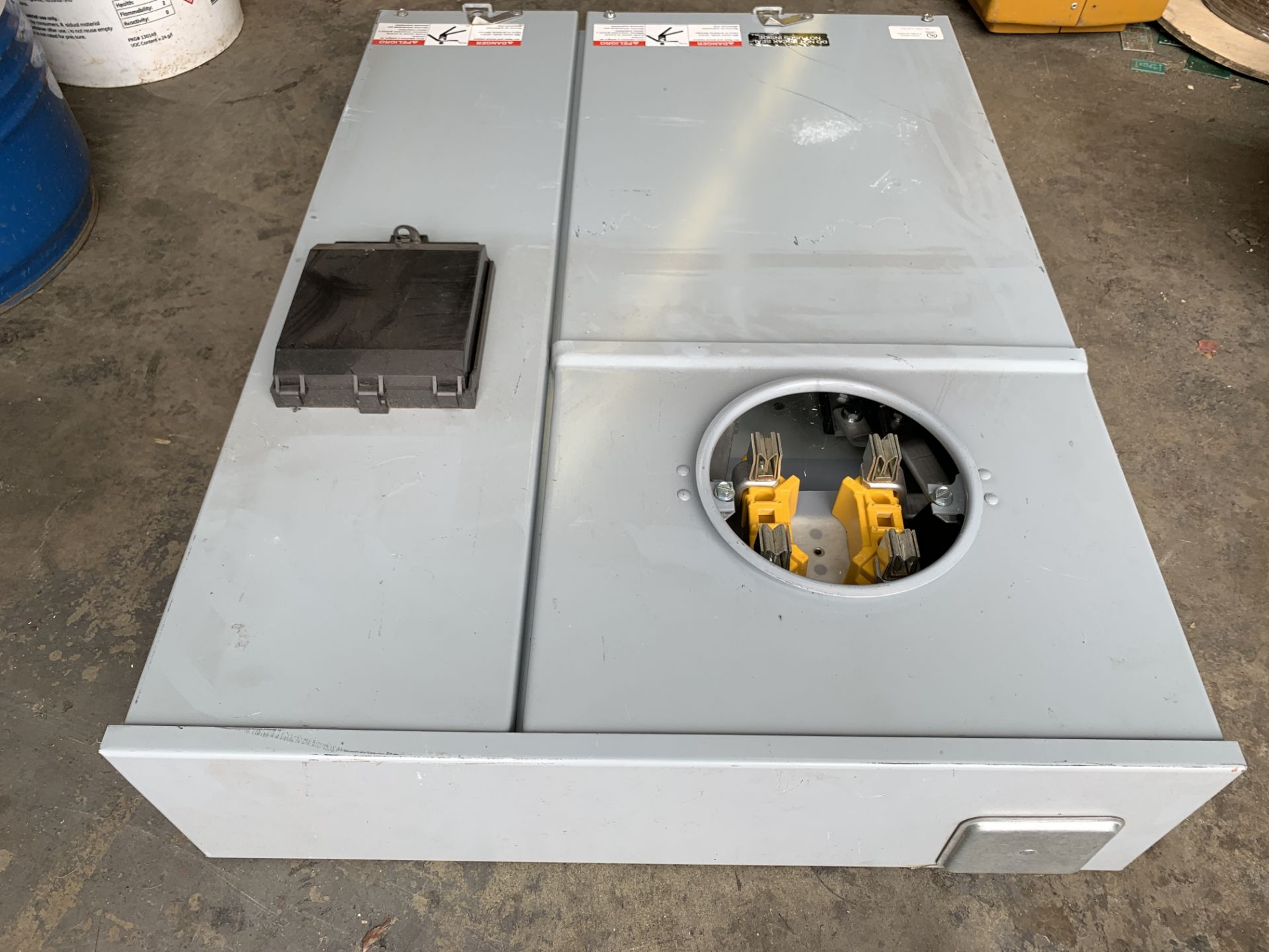 Lot 203 - Electrical Meter Enclosed Panel Board Unit, stands approx 3' tall, sold as is, In Los Angeles