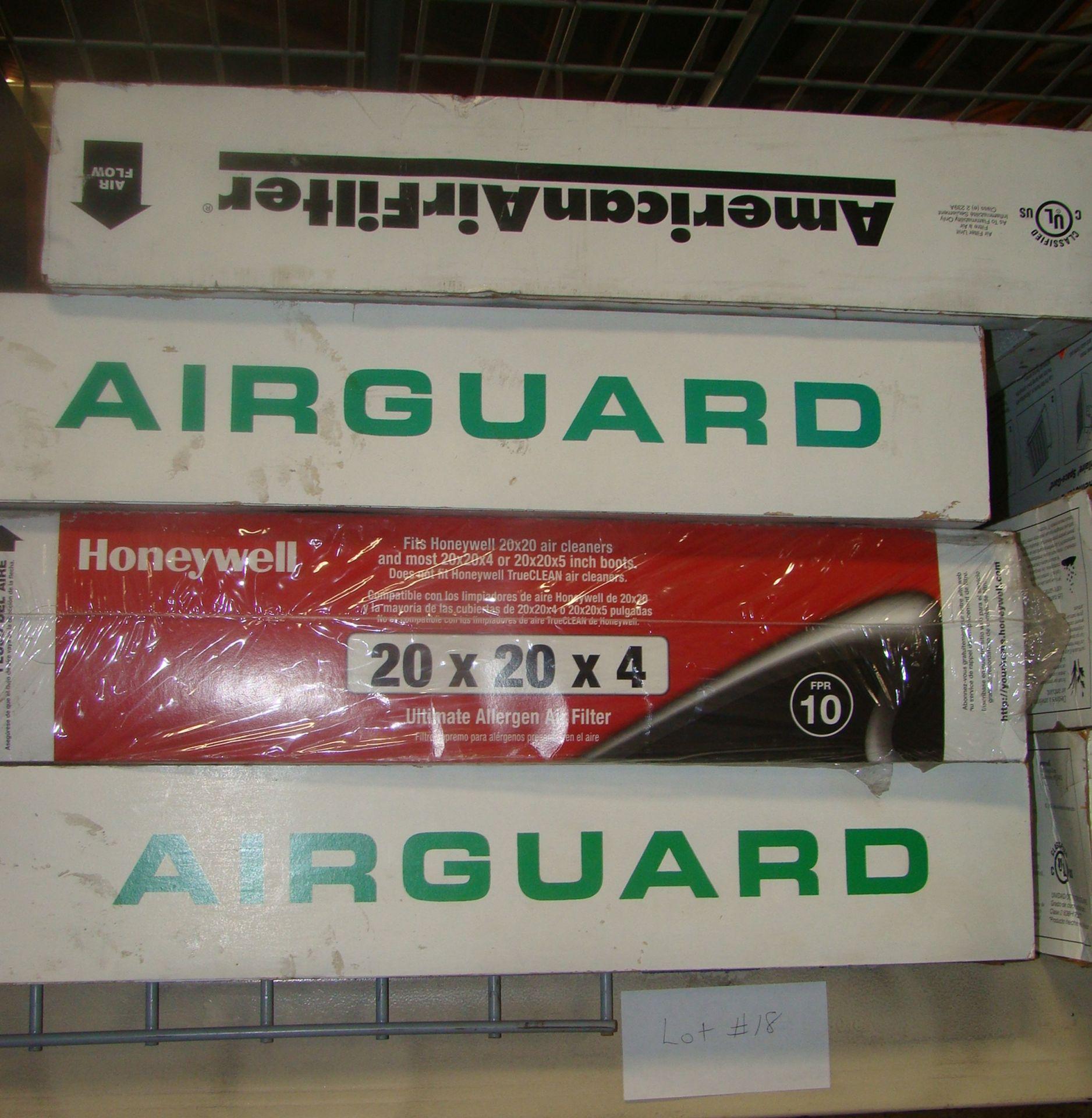 Lot 18 - Air Filters -2Airguard 20x24x4; 1 Honeywell 20x20x4; 1 American 24x20x4