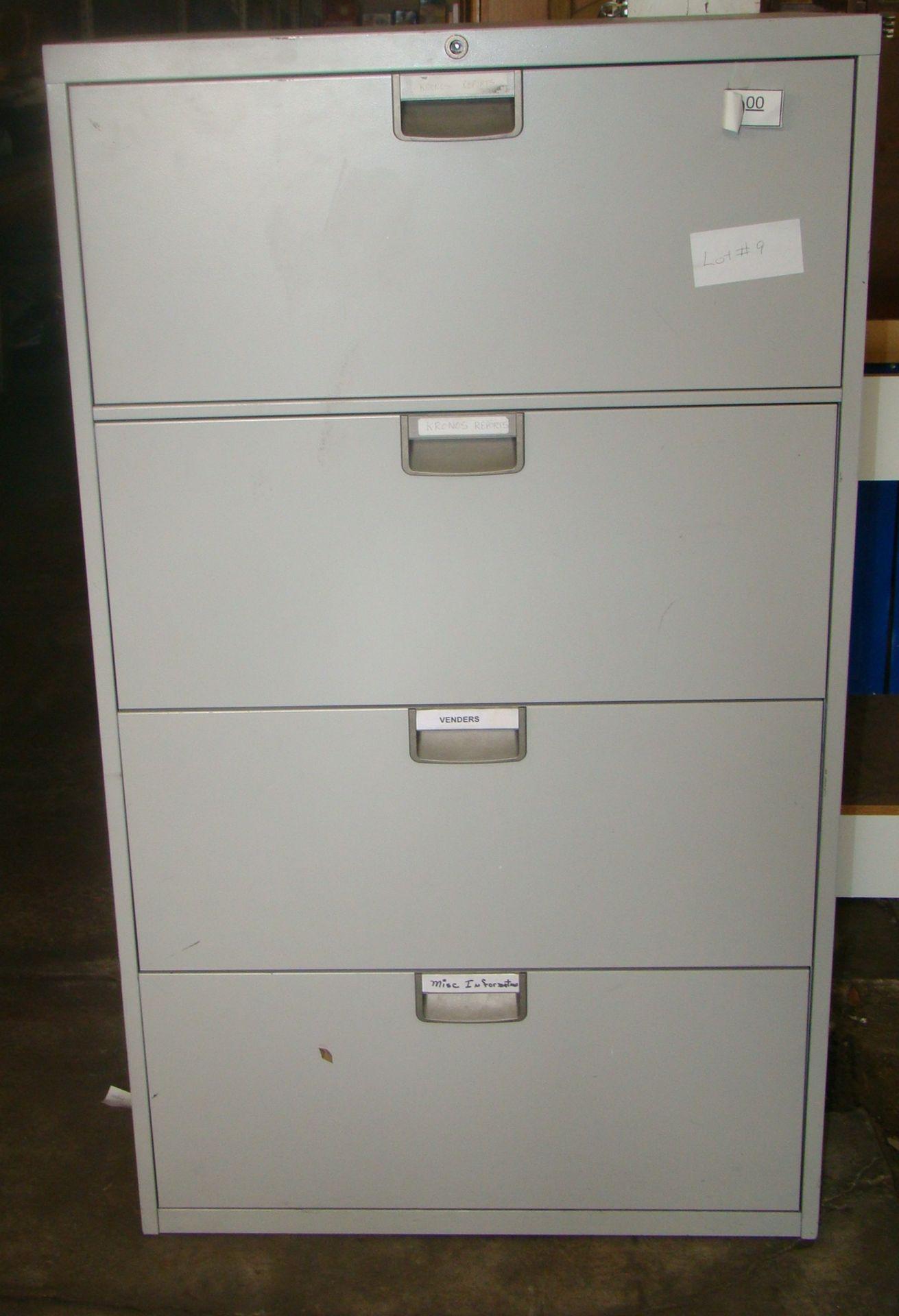 """Lot 9 - 4 Drawer metal filing cabinet 51 1/2""""t x 18 1/4""""d x 30""""w"""