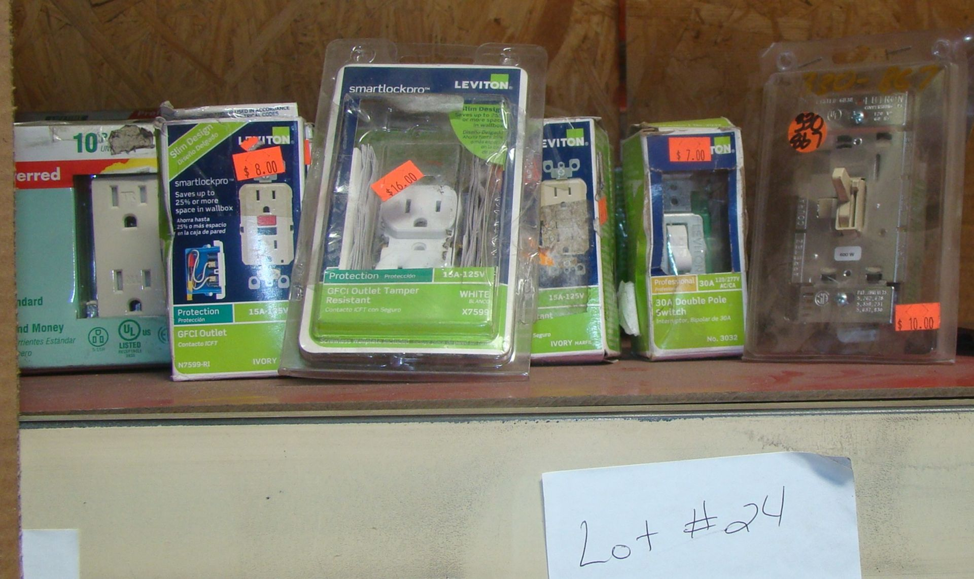 Lot 24 - 22 Leviton GFCI outlets; GFCI outlet Tamper Resistant; 30A Double Pole Switch; light switch with