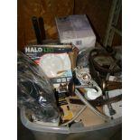 Lot 49 - Tub of light fixtures, led retrofit baffle trim, misc