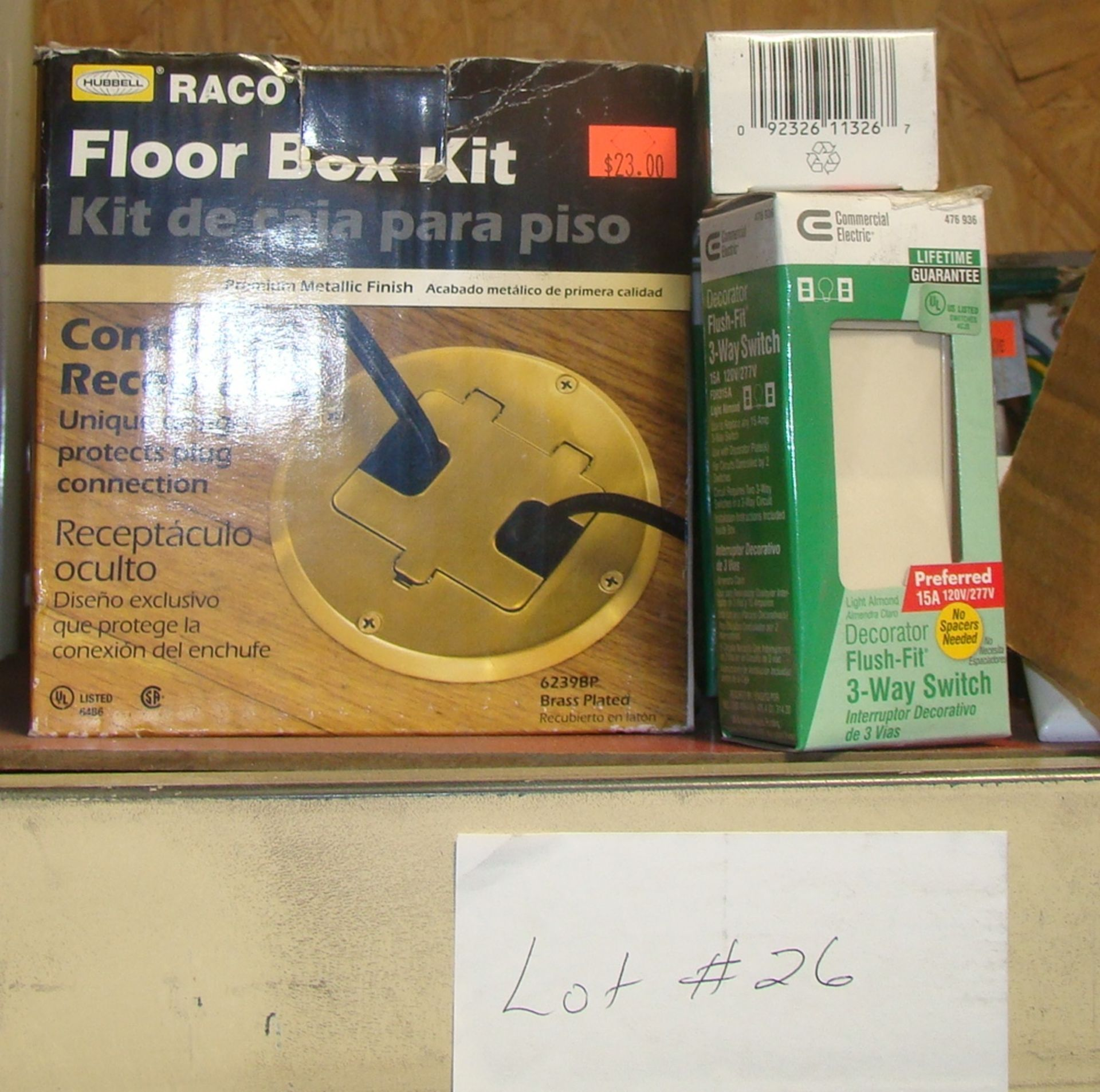 Lot 26 - Lot of Flush fit 3-way Switch & Hubbell Floor Box Kit