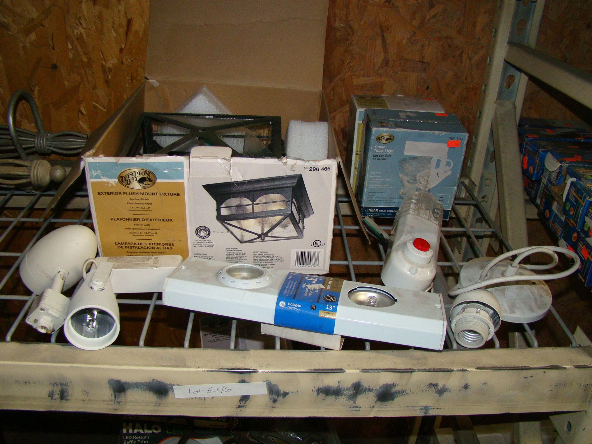 Lot 46 - Lot of Track lights, exterior flush mount fixture, wall light