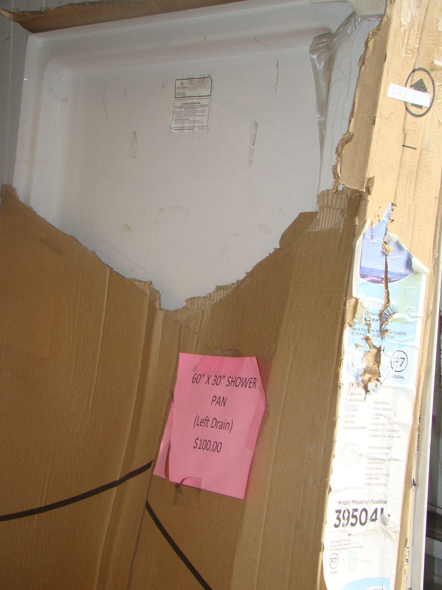 """Lot 3 - 34"""" x 60"""" Firenze High Gloss White Shower Base left drain Model 39504L"""
