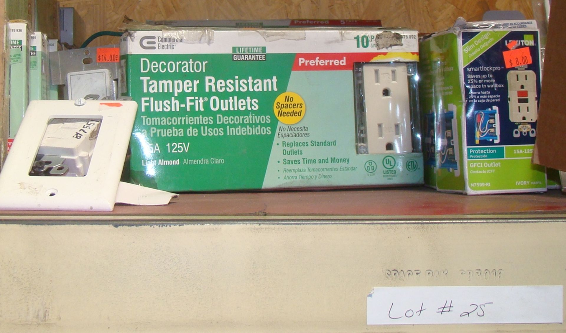 Lot 25 - Lot of Leviton Tamper Resistant Flush Fit Outlets; GFCInoutlets; singlenswitch cover; and light