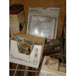 Lot 53 - Lot of Doorbells, locking thermostat cover, door handle; doorbell extenders; door alert