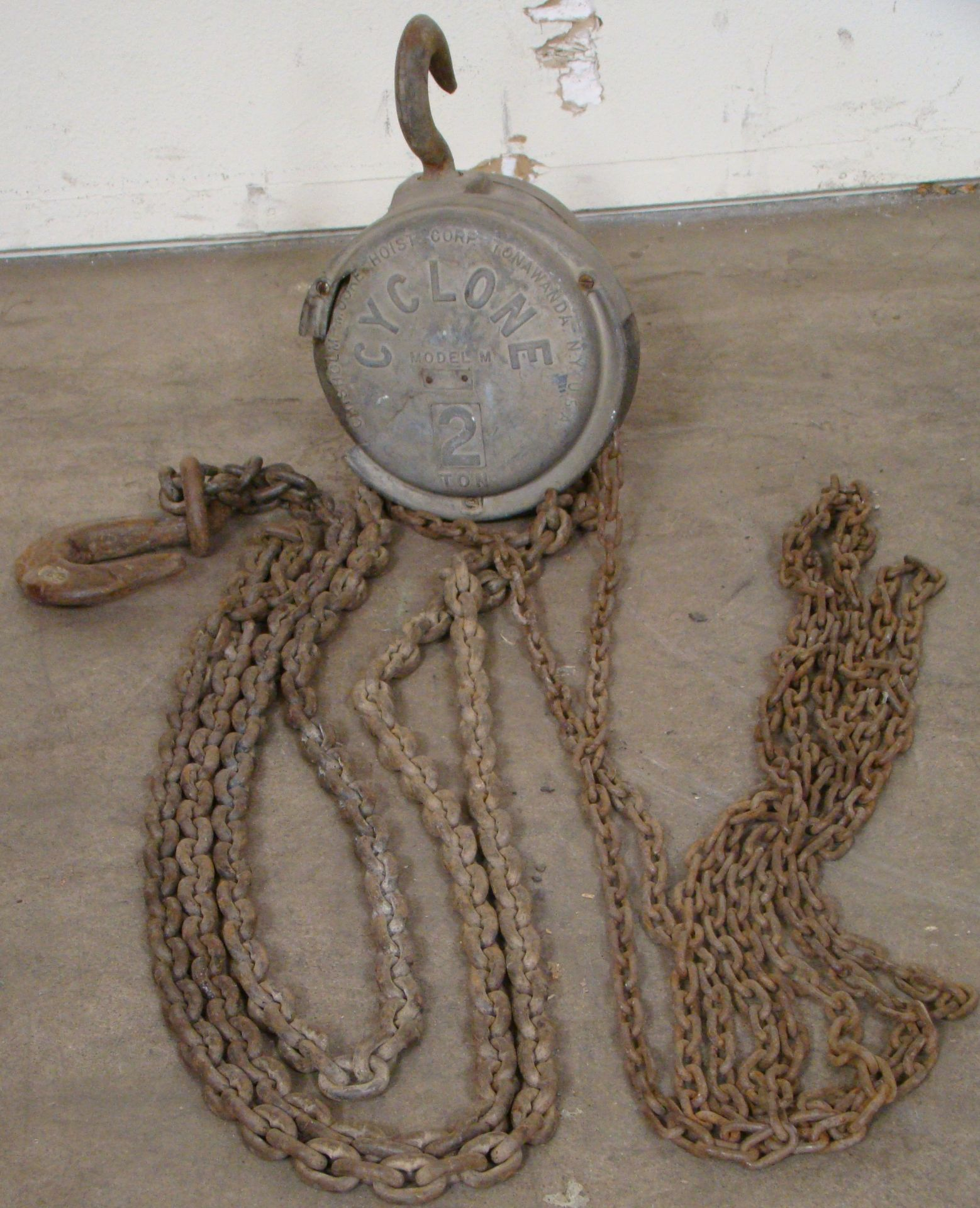 Lot 47 - Chisholm-Moore Cyclone 2 Ton Chain Hoist 13' and 18' Chains