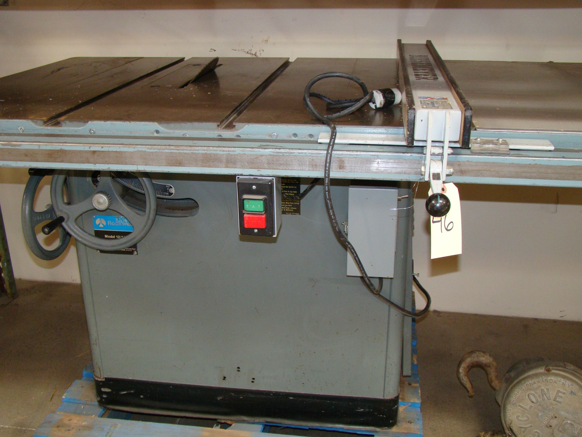 "Lot 46 - Rockwell 12""-14"" Tilting /Arbor Table Saw 50"" Biesemeyer Rails & Fence Model 12/14; 7.5HP 230/460"