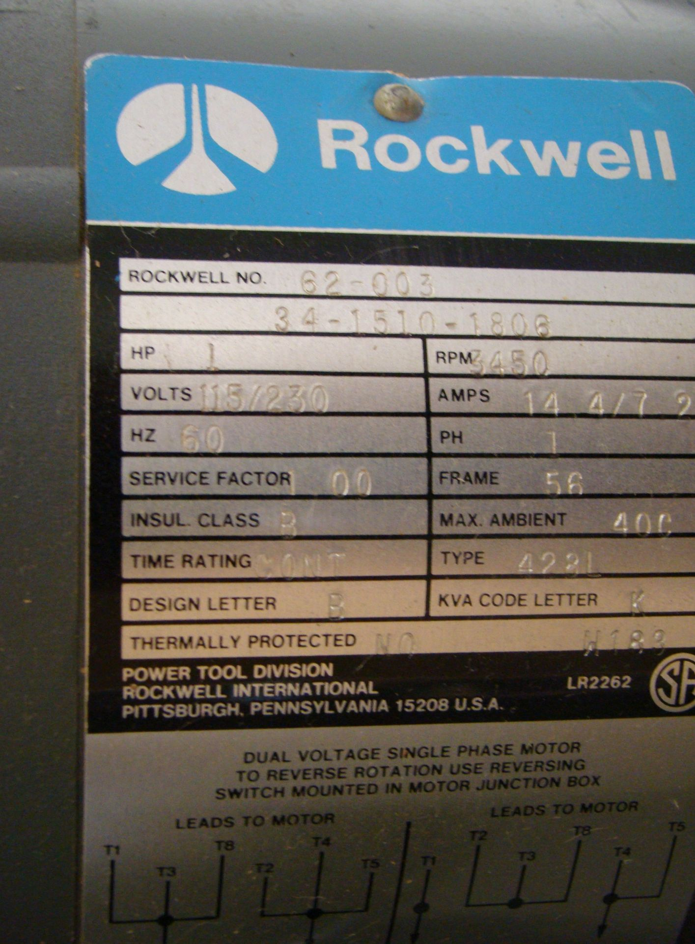 "Lot 40 - Rockwell Wood Shaper 1/2"" Spindle 1HP 115/230 Volt 1PH"