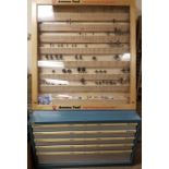 Lot 230 - Amana Router Bits, Amana Store Display Case, & Amana Blue Lockible Cabinet with Router Bits