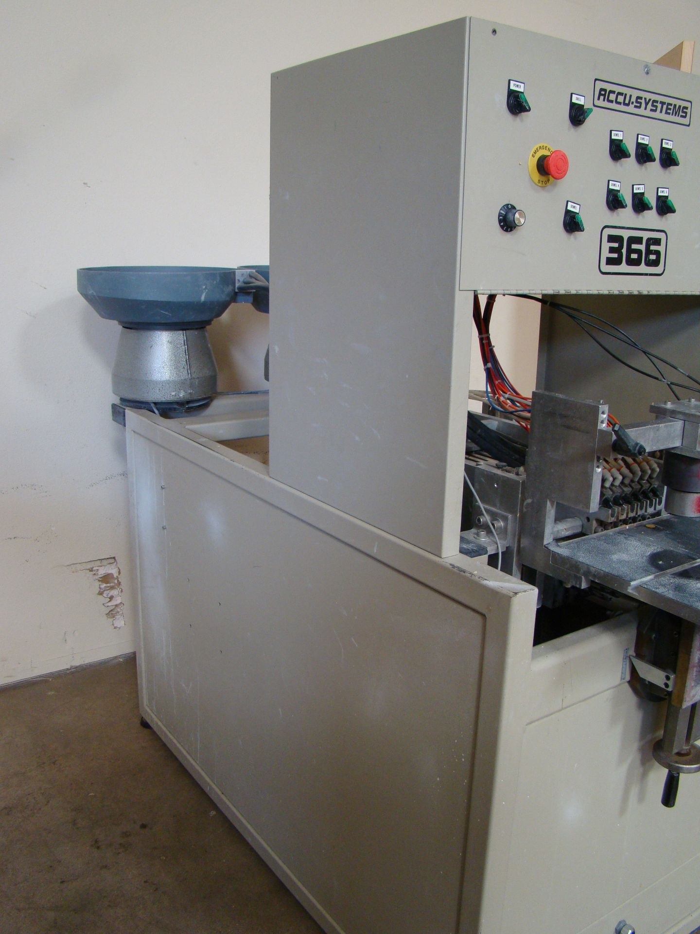 Lot 2 - ACCU-Systems 366 Dowel Insertion Machine with Foot Pedal, Vibratory Bowl Feeders, Glue Pot 220