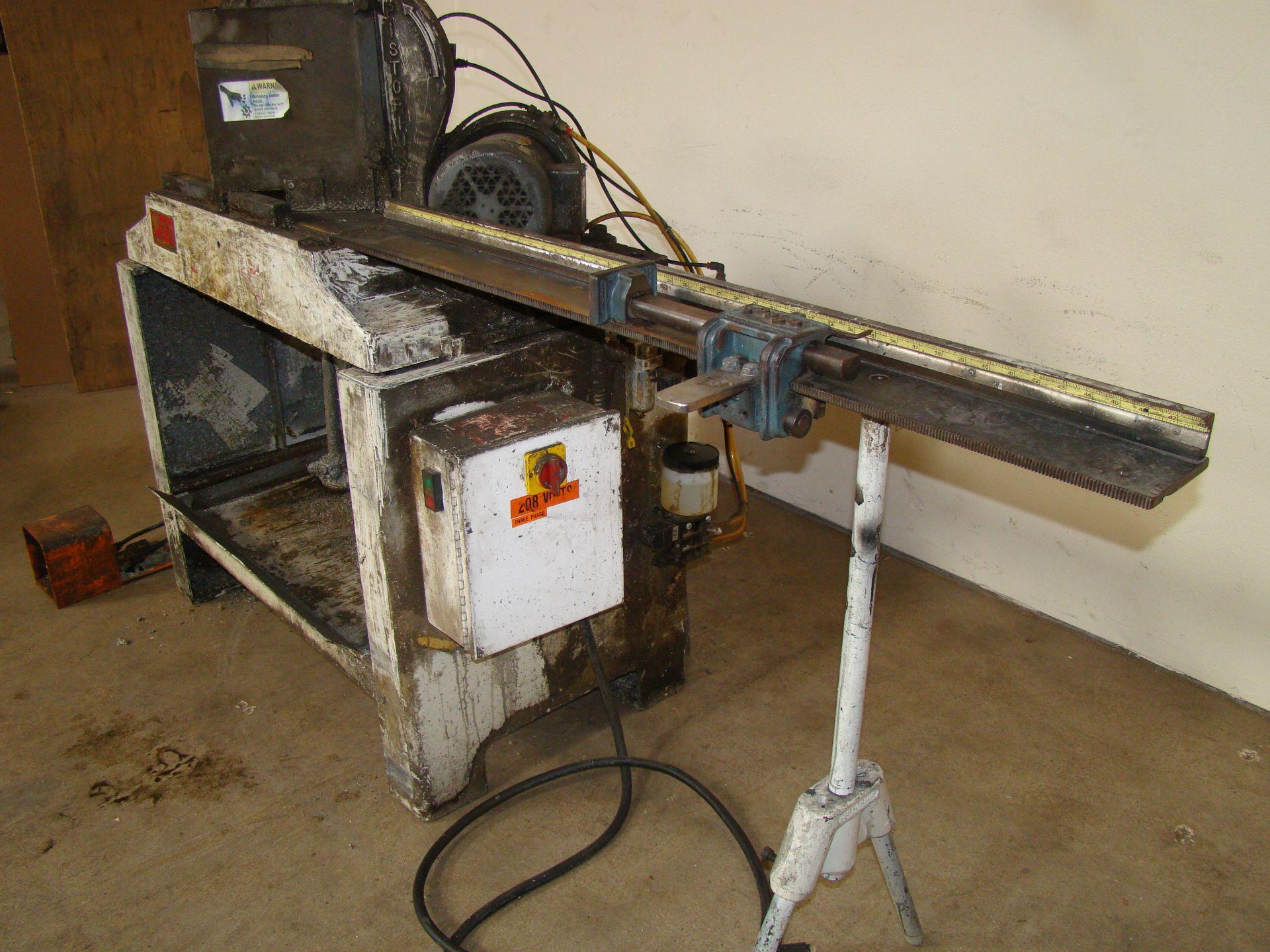Lot 35 - Pistorius MN-100 Double Miter Cut-off Saw 45 Degree Trim Chop Saw, Has 2 - 1-1/2 HP 230/460 Volt 3PH