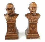 2 Kleine BüstenKaiser Franz Josef und Wilhelm II., datiert 1914, Metall-Masseguß, Höhe je 9,5 cm;