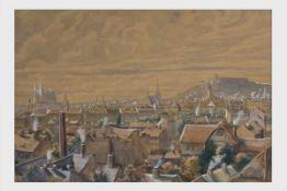 Rudolf von Zeileissen (Wien 1897-1970)Stadtansicht, Mischtechnik auf Papier, signiert Zeileissen,